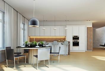 Интерьер кухни в современном стиле в частном доме 3d rendering