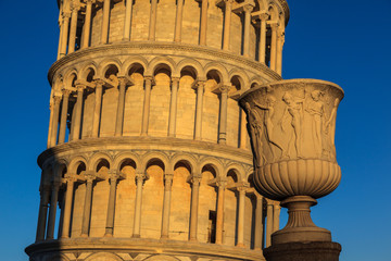 Detail of leaning tower of Pisa.