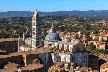 Aerial view of the Siena cathedral.