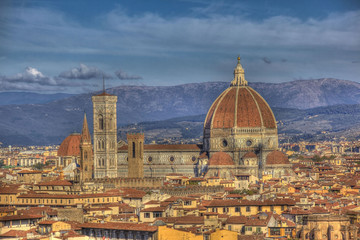 View of the center of Florence and cathedral.