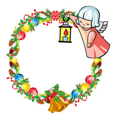 Round holiday garland with ornaments and little flying angel.