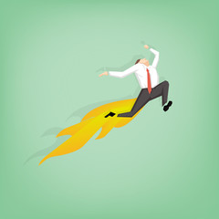 businessman jumping over the air and have fire from ass