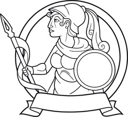 Greek goddess Athena with a spear in his hand