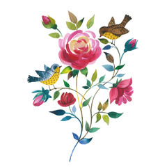 Wildflower rose flower with birds in a watercolor style isolated.
