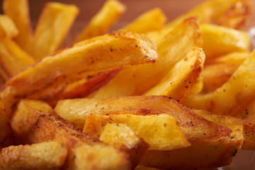 fried French fries close up