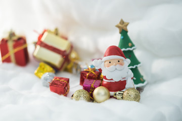 Colorful Christmas characters and decorations. Using as wallpaper