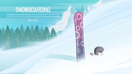 Winter sports - Snowboard. Sportsman slope for Snowboarding down from the mountain