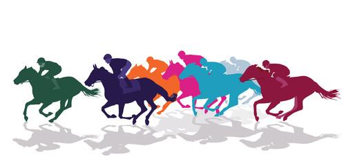 Jockeys mit Rennpferden