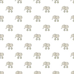 Toy elephant on wheels pattern. Cartoon illustration of toy elephant on wheels vector pattern for web