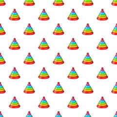 Toy pyramid pattern. Cartoon illustration of toy pyramid vector pattern for web