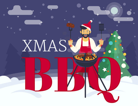 BBQ xmas holiday party. Flat illustration of guy is cooking beef steak barbecue outdoors near decorated xmas tree and letters bbq. Funny hipster celebrating christmas or a new year and cooking bbq