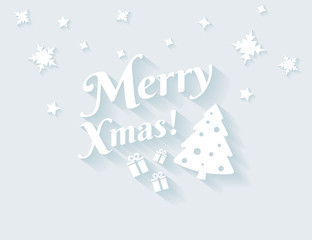 Merry xmas white text with long shadows for christmas greetings. Flat illustration of modern christmas tree and gifts with greetings text and snowflakes on blue background.