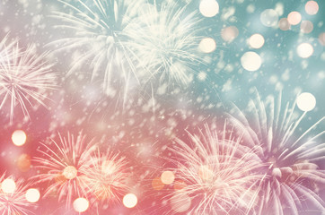 Fototapete - Pastel fireworks and bokeh in New Year and copy space. Abstract background holiday.
