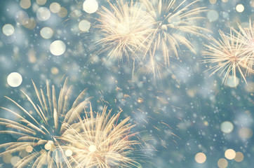 Fototapete - Fireworks and bokeh in New Year and copy space. Abstract background holiday.