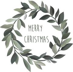 Merry christmas. Olive wreath. Stylish vector illustration.