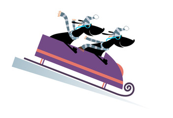 Dog bobsledding. Two cartoon dachshunds ride on sledge