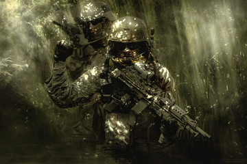 Green Berets soldiers in the jungle