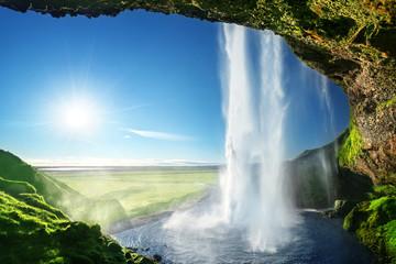 Wall Murals Waterfalls Seljalandfoss waterfall in summer time, Iceland