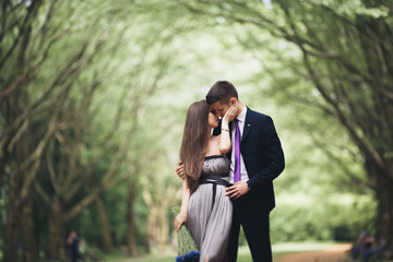 Young beautiful couple, girl with perfect dress posing in park
