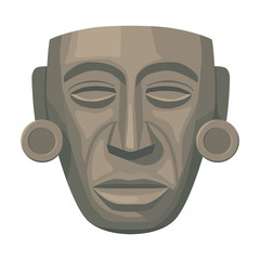 Mayan mask icon in cartoon style isolated on white background. Mexico country symbol stock vector illustration.