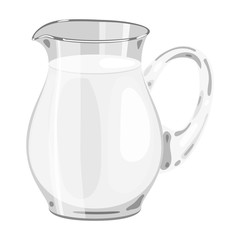 Glass jug of milk icon in cartoon style isolated on white background. Milk product and sweet symbol stock vector illustration.
