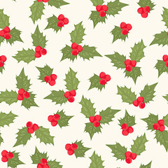 Holly berry mistletoe leaves composition element seamless pattern. Red and green on beige background. Christmas holidays season sign symbol. Vector design illustration for decoration.