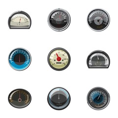 Speed measurement icons set. Cartoon illustration of 9 speed measurement vector icons for web