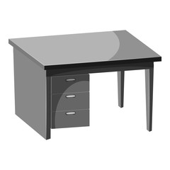 Computer desk icon. Gray monochrome illustration of computer desk vector icon for web