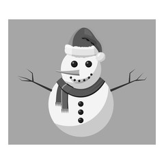 Snowman icon. Gray monochrome illustration of snowman vector icon for web