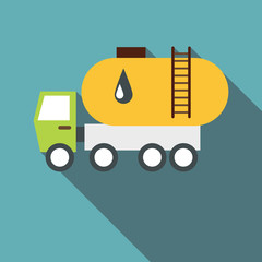 Truck carries petrol icon. Flat illustration of truck carries petrol vector icon for web