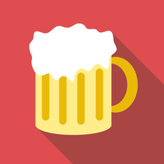 Mug with beer icon. Flat illustration of mug with beer vector icon for web