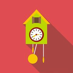 Cuckoo clock icon. Flat illustration of cuckoo clock vector icon for web