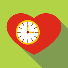 Watch heart icon. Flat illustration of watch heart vector icon for web
