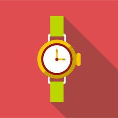 Round wrist watch icon. Flat illustration of round wrist watch vector icon for web