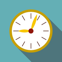 Round wall clock icon. Flat illustration of round wall clock vector icon for web