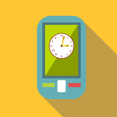 Watch on mobile phone icon. Flat illustration of watch on mobile phone vector icon for web