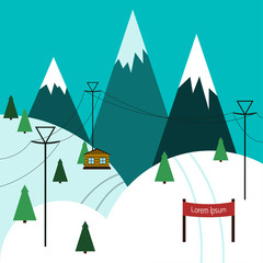 Winter ski resort Vector illustration Ski trail among mountain peaks Flat design