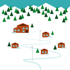 Winter ski resort Vector illustration Ski resort on the top of the mountain and forest Flat design