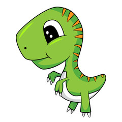 Illustration of Cute Cartoon of Green Baby T-Rex Dinosaur. Vector EPS 8.