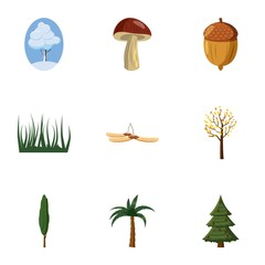 Nature icons set. Cartoon illustration of 9 nature vector icons for web