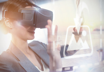 User in Business Attire with VR Goggles Mockup 1