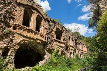 Brick destroyed wall. Ruins of fort Tarakanovskiy. Dubno. Ukrain
