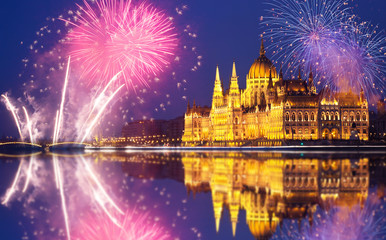 Budapest Parliament with fireworks
