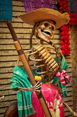 Mexican sculpture of a skeletons, day of dead