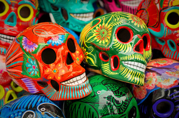 Tuinposter Mexico Decorated colorful skulls at market, day of dead, Mexico