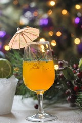 Holiday Cocktail against  christmas background
