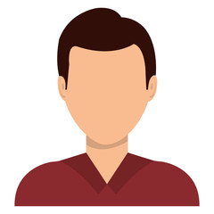 Male profile avatar with brown hair over white background, vector illustration