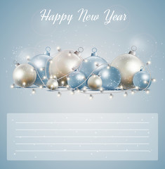 Christmas card with a glowing garland. for new year postcard