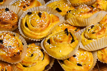 Traditional Swedish saffron buns on wire rack