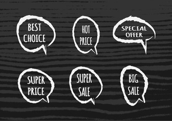 Set cloud of thoughts with the text Hot Price, Best Choice, Special offer, Super Big Sale.
